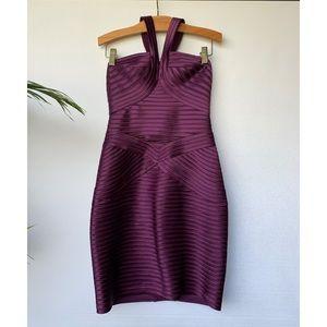 Size 2, BCBGMaxAzria, plum purple bodycon dress